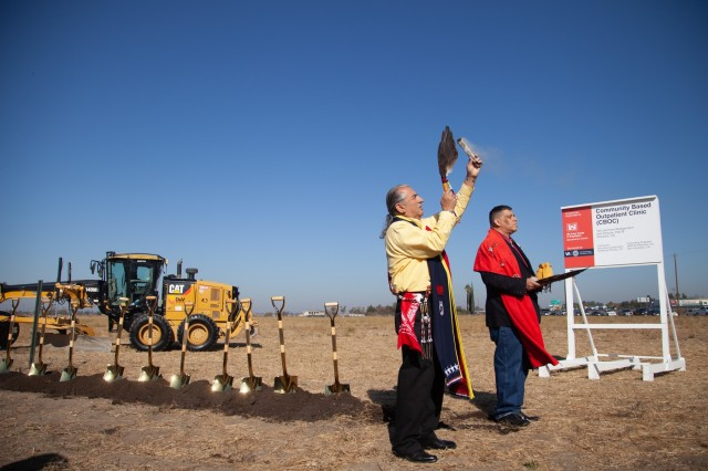 "Veterans of the U.S. Armed Forces give a Native American ""blessing of the soil"" prior to a Nov. 8, 2019, ground breaking ceremony in French Camp, Calif., where U.S. Army Corps of Engineers will build a Veterans Affairs Central Valley Community Based Outpatient Clinic.Col. James Handura, USACE Sacramento District Commander, and Cheree Peterson, Programs Director for USACE's South Pacific Division, joined VA leaders, members of Congress and many veterans from the Stockton community for the ceremony.Conveniently located next to San Joaquin General Hospital, the project includes construction of the 158,000 square foot clinic, as well as a 150,000 square foot, 120-bed Community Living Center, and an Engineering Logistics Building. All three are scheduled to be completed in 2022.The Corps of Engineers has a longstanding strategic partnership with VA, since our historic assistance with major hospital construction projects after World War II. (U.S. Army photo by Ken Wright)"