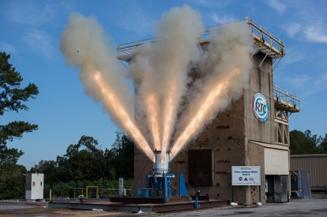 A 1.5 second static fire of the jettison motor for the Orion Launch Abort System was conducted by Aerojet Rocketdyne at RTC's Test Area 5 October 16.