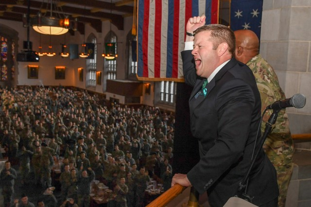 Secretary of the Army Ryan McCarthy addresses U.S. Military Academy cadets from a balcony above Washington Hall at West Point, N.Y., as the cadets finish dining, Nov. 8, 2019.