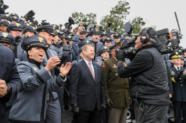 Secretary of the Army Ryan D. McCarthy appears with cadets on a Fox NFL broadcast from West Point, N.Y., Nov. 10, 2019.