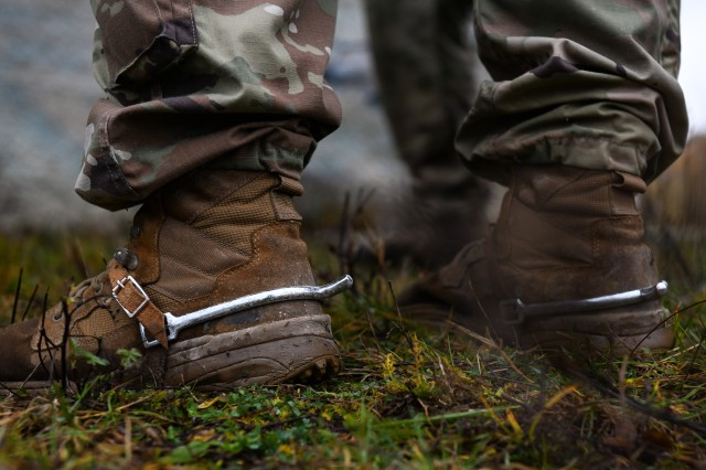 Silver spurs adorn the combat boots of U.S. Army Sgt. Tyler Lekse, an Indianapolis soldier assigned to the 1st Squadron, 152nd Cavalry Regiment, 76th Infantry Brigade Combat Team, 38th Infantry Division, Indiana Army National Guard, at Le�t military training center, Slovakia, Nov. 10, 2019. Spurs, which must be earned by the wearer, are an iconic part of the uniform for soldiers assigned to a U.S. Army cavalry unit.