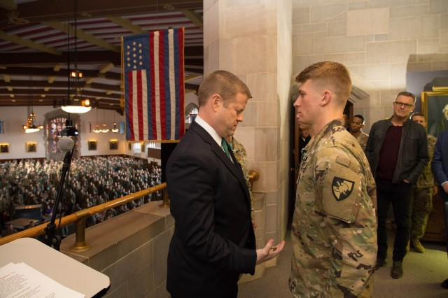 Secretary of the Army Ryan D. McCarthy issued the Army Commendation Medal and coins to Class of 2020 Cadet Zachary Aloma and Class of 2023 Cadet Hudson Durfield, who helped save a man's life after he collapsed following a heart attack, during his visit to West Point on November 08, 2019.
