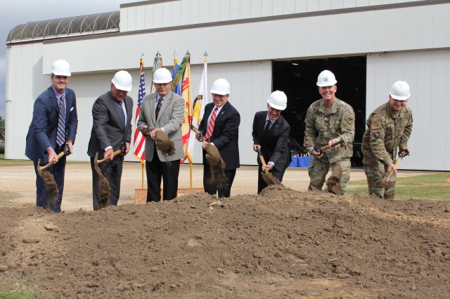 Army and construction officials broke ground on the new Aviation Training Support Facility during a ceremony Nov. 7 at Fort Rucker.