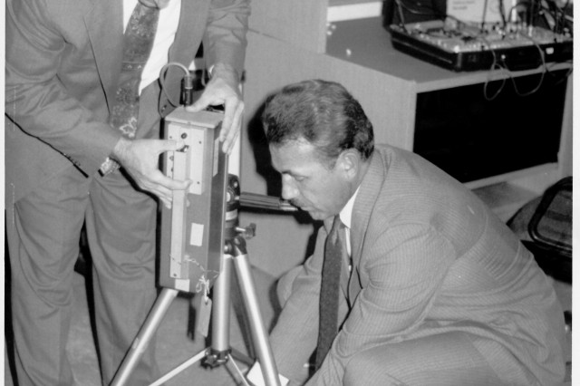 U.S. Army historical photo of 902nd Military Intelligence Group technical countermeasure specialists test communications in the 1970s.