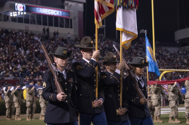 A color guard team from Fort Jackson's 165th Infantry Brigade, presents the nation's colors during the University of South Carolina Military Appreciation Football Game Nov. 9.
