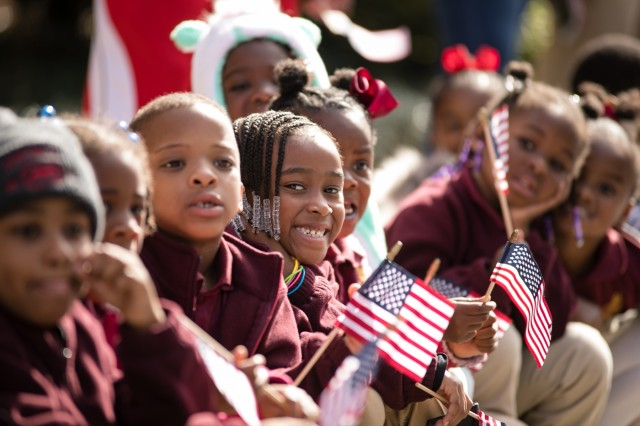 Students from Fort Jackson's C.C. Picnkey Elementary School prepare to march down Main Street in downtown Columbia, S.C., to honor all those who have served the nation through military service during the city's Veterans Day Parade Nov. 11. (Photo by Ms. Saskia Gabriel, Fort Jackson)