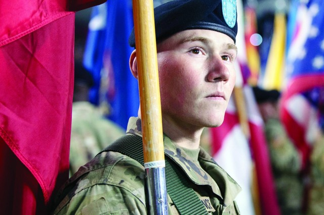 A Soldier from 1st Battalion, 34th Infantry Regiment, prepares to walk onto the field during the University of South Carolina military appreciation football game Nov. 9 at William-Brice Stadium in Columbia, S.C.