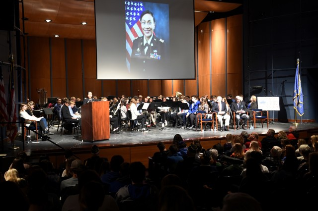 Lt. Col. Vickie Argueta, Equal Opportunity Advisor, 85th U.S. Army Reserve Support Command, speaks to an audience of students, veterans and area residents at Lake Forest High School during their Veteran's Day ceremony, November 11, 2019. (U.S. Army Reserve photo by Capt. Michael Ariola)