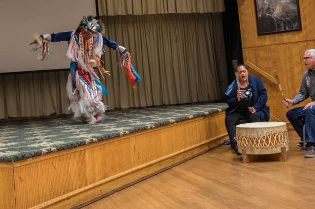 Great Promise for American Indians from Austin, Texas, perform the Native American traditional Grass Dance Nov. 14.  Soldiers, leaders and community members from across Fort Hood and communities around Texas attended a Native American Indian Observance at the Phantom Warrior Center.