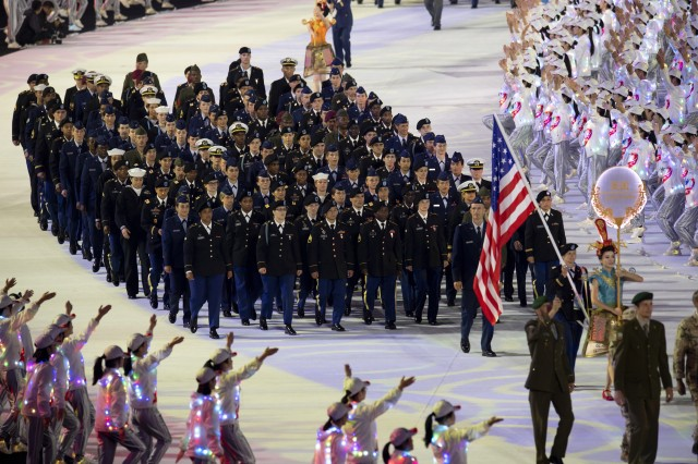 The U.S. Armed Forces Sports team marches during opening ceremonies for the 2019 CISM Military World Games in Wuhan, China Oct. 18. Staff Sgt. Max Nowry is second in the front row (L to R) and Staff Sgt. Spenser Mango is to the right of Mowry. Staff Sgt. Whitney Conder is third in the second row (L to R). Photo by EJ Hersom.