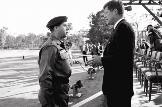 President John F. Kennedy visits with Brig. Gen. William P. Yarborough during a visit to Fort Bragg, N.C. on October 12, 1961. The meeting began a relationship that would transform the Department of Defense and set in motion the president's vision of a force dedicated to counterinsurgency and unconventional warfare.