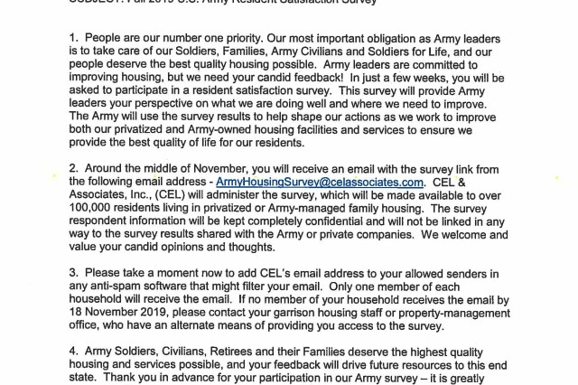 In a memorandum from Gen. Gustave F. Perna, commanding general, Army Materiel Command, he encourages all residents to complete the Resident Survey to help guide the Army and its privatized housing partner in identifying and developing solutions for future improvements to housing facilities and services.