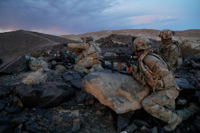 "U.S. Army Soldiers assigned to 3rd Cavalry regiment, ""Brave Rifles"" Fort Hood, TX, scouts for the opposing force during Decisive Action Rotation 20-02 at the National Training Center in Fort Irwin, Calif., Nov. 03, 2019. Decisive Action Rotations at the National Training Center ensure Army Brigade Combat Teams remain versatile, responsive, and consistently available for current and future contingencies. (U.S. Army photo by Spc. Jessica Rutledge, Operations Group, National Training Center)"