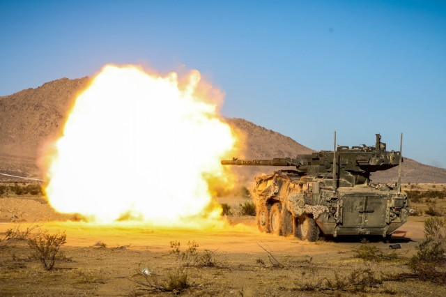 "U.S. Army M109 Paladin assigned to 3rd Cavalry regiment, ""Brave Rifles"" Fort Hood, TX, engages simulated enemy targets during Live Fire training during Decisive Action Rotation 20-02 at the National Training Center in Fort Irwin, Calif., Nov. 08, 2019. Decisive Action Rotations at the National Training Center ensure Army Brigade Combat Teams remain versatile, responsive, and consistently available for current and future contingencies. (U.S. Army photo by Spc. Kyler Chatman, Operations Group, National Training Center)"