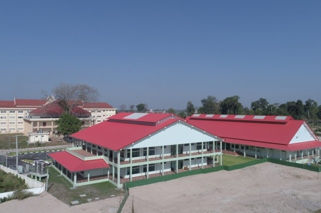 VIENTIANE, Laos (Nov. 14, 2019) - The U.S. Army Corps of Engineers (USACE) - Pacific Ocean Division has completed phase one and two construction of the National Institute of Nutrition (NIN), officially turning over major portions of the $4.9 million dollar medical and educational facility to Lao Ministry of Health leads in a ribbon cutting ceremony today. Pictured is the five-acre multi-purpose campus, which includes five classrooms, two clinical simulation rooms, a lecture hall, five inpatient and six outpatient clinical assessment and intervention areas, as well as a clinical laboratory. The two-story structure in the center is the clinical translational research center and the single-floor building to the right is the teaching administration and café. Phase three will include construction of dormitories, which will be complete later next year. The project includes collaboration with USACE, U.S. Indo-Pacific Command (INDOPACOM), U.S. Agency for International Development, the Oregon Health and Science University, as well as with the Lao Ministry of Health, who maintains operation and maintenance of the facility. This is the largest Humanitarian Assistance construction joint effort funded by U.S. INDOPACOM. (courtesy photo)