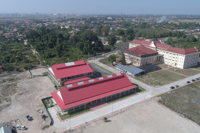 VIENTIANE, Laos (Nov. 14, 2019) - The U.S. Army Corps of Engineers (USACE)- Pacific Ocean Division has completed phase one and two construction of the National Institute of Nutrition (NIN), officially turning over major portions of the $4.9 million dollar medical and educational facility to Lao Ministry of Health leads in a ribbon cutting ceremony today. Pictured is an aerial view of the campus, before it reached completion. In view is the five-acre multi-purpose campus, which now includes five classrooms, two clinical simulation rooms, a lecture hall, five inpatient and six outpatient clinical assessment and intervention areas, as well as a clinical laboratory. Phase three will include construction of dormitories, which will be complete later next year. The project includes collaboration with USACE, U.S. Indo-Pacific Command (INDOPACOM), U.S. Agency for International Development, the Oregon Health and Science University, as well as with the Lao Ministry of Health, who maintains operation and maintenance of the facility. This is the largest Humanitarian Assistance construction joint effort funded by U.S. INDOPACOM. (courtesy photo )
