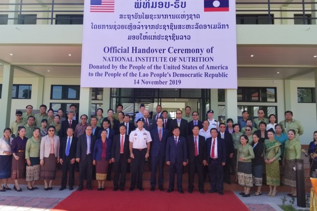 VIENTIANE, Laos (Nov. 14, 2019) - The U.S. Army Corps of Engineers (USACE) has completed phase one and two construction of the National Institute of Nutrition (NIN), officially turning over major portions of the $4.9 million dollar medical and educational facility to Lao Ministry of Health leads in a ribbon cutting ceremony today. Pacific Ocean Division Commanding General, Brig. Gen. Thomas Tickner (center left), stands alongside U.S. Embassy in Laos Deputy Chief of Mission, Colin Crosby (center right), as well as members of the Laos Ministry of Health, following the ceremony. The five-acre multi-purpose campus, includes collaboration with USACE, U.S. Indo-Pacific Command (INDOPACOM), U.S. Agency for International Development, the Oregon Health and Science University, as well as with the Lao Ministry of Health, who maintains operation and maintenance of the facility. This is the largest Humanitarian Assistance construction joint effort funded by U.S. INDOPACOM. (courtesy photo: Evan Ting, POD)