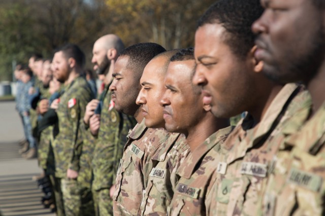 U.S. Army Soldiers of 1st Battalion, 5th Cavalry Regiment, 2nd Cavalry Division, currently serving at Mihail Kogalniceanu Air Base, Romania, joined Romanian and Canadian Forces for a Remembrance Day Ceremony, Nov. 11, 2019. Remembrance Day is a memorial day observed in Commonwealth member states recognizing the armed forces members who died in the line of duty during World War One.