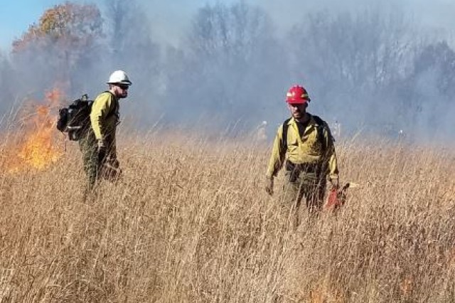 Wildland firefighters with the U.S. Forest Service participate in the prescribed burn at Devens Reserve Forces Training Area (Devens RFTA) Nov. 4, 2019. The Forest Service crew worked in cooperation with Devens RFTA, Massachusetts Department of Environmental Protection, the Bureau of Air & Waste, Central Region (MassDep), the Mass. Department of Conservation and Recreation's Bureau of Forest Fire Control (DCR), to burn 189 acres of Turner Drop Zone for land and resource management, conservation, and training.