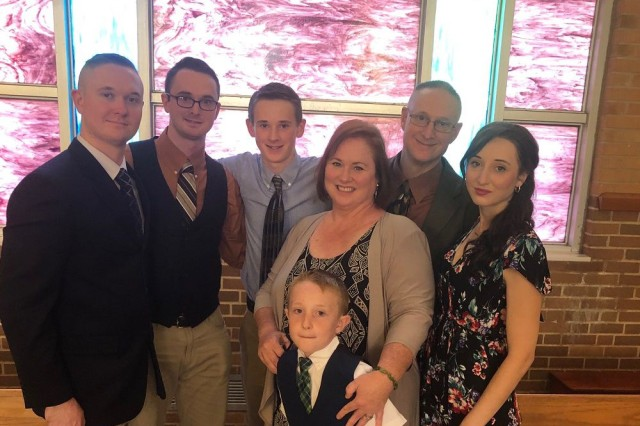 The Durants are a proud military family.  From left, in back row, are Dominic, Jacob, Timothy, John and Elizabeth.  In front row are Deborah and George.