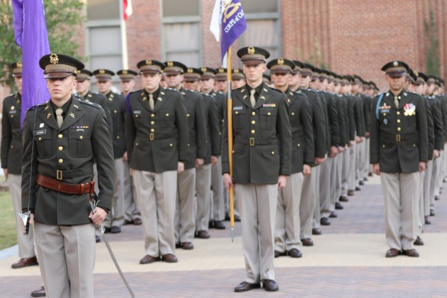 The Texans Corps of Cadets from Tarleton State University stand in formation waiting to march for the first time with their sister Cadet Corps at Texas A&M University, Nov. 16, 2019. As a system school of Texas A&M, the Texans Cadet Corps came to participate in the Texas A&M Military Appreciation Game. Photo by U.S. Army Reserve Sgt. Daniel Holmes.