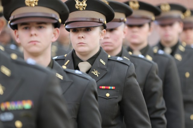 U.S. Army Reserve Pfc. Scarlet Loney stands ready to march with her fellow Tarleton State University Texans Corps of Cadets at Texas A&M University, Nov. 16, 2019. As a system school of Texas A&M, the Texans Cadet Corps came to participate in the Texas A&M Military Appreciation Game. Photo by U.S. Army Reserve Sgt. Daniel Holmes