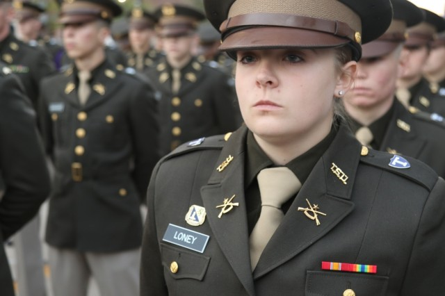 Cadet Scarlet Loney stands ready to march with her fellow Tarleton State University Texans Corps of Cadets at Texas A&M University, Nov. 16, 2019. As a system school of Texas A&M, the Texans Cadet Corps came to participate in the Texas A&M Military Appreciation Game. Photo by U.S. Army Reserve Sgt. Daniel Holmes.