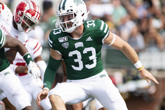 Ohio Army National Guard 2nd Lt. Devin King is the long snapper on the Ohio University football team, making the team in 2018 as a walk-on and earning the starting position this season. King graduated with a bachelor's degree in health service administration last December, and he's currently on target to earn his masters in coaching education at the end of this year.