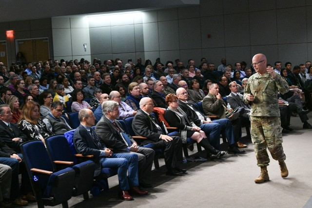Maj. Gen. John A. George, commanding general of Army Combat Capabilities Development Command, speaks during a town hall meeting with C5ISR Center at Aberdeen Proving Ground on Nov. 18, 2019.