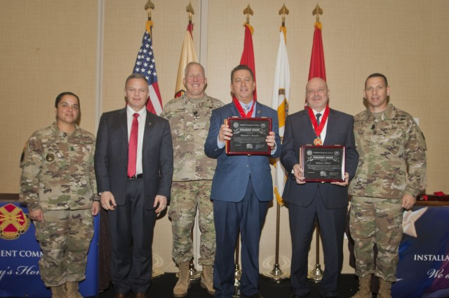 IMCOM Directorate-Europe Stalwart Award recipients from left to right:Mr. Michael A. Beando, Director of Human Resources, U.S. Army Garrison Ansbach, Germany;Mr. Stefan F. Alford, Chief Public Affairs Officer, U.S. Army Garrison Rheinland-Pfalz, Germany