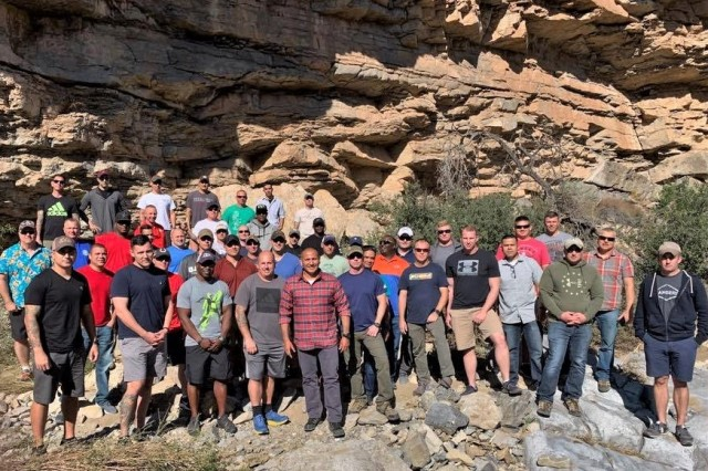 Senior Noncommissioned Officers from the 10th Mountain Division pose during a  hands-on look at the Battle of Hembrillo at White Sands Missile Range.