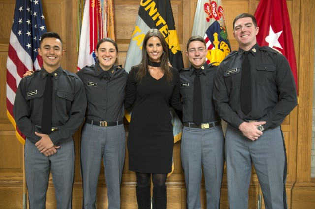Class of 2020 Cadets Sylvan Blankenship and Emma Powell and Class of 2021 Cadets John Boyer and Paul Lawless Jr. are pictured with Monica Buckle, of the American Indian Heritage House, who was the guest speaker at the U.S. Military Academy's Native American Heritage Month observance Tuesday. The cadets are four of the 48 with Native American or Alaskan heritage currently enrolled at West Point.