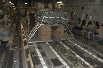 82nd Airborne Soldiers test forklift after cargo aircraft airdrop
