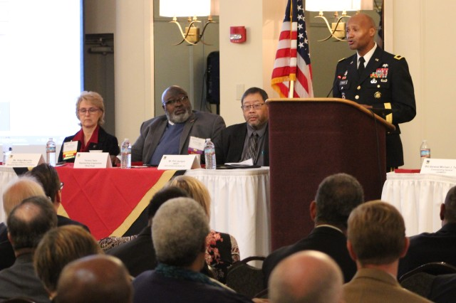 USAMRDC Brig. Gen. Michael J. Talley delivers his keynote speech during the 17th annual SMART PROC event in Frederick, Maryland, on November 19, 2019.