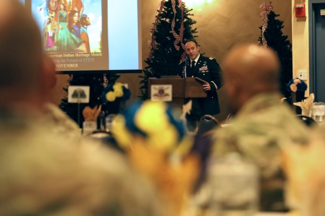 Soldiers and members of the community attend the National American Indian Heritage Month equal opportunity special observance, hosted by 2nd Brigade Combat Team, 10th Mountain Division, to share and celebrate the Army's diversity, November 20, 2019, at Fort Drum, New York. Guest speaker, Ray Halbritter, the Oneida Indian Nation representative, discussed how military service provides opportunities which counter challenges many American Indians face seeking higher education.  (U.S. Army photo by Staff Sgt. Paige Behringer)