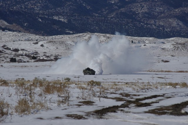 During operational testing at Fort Carson, Colo., the Screen Obscuration Module (SOM) lays a plume of smoke to conceal troops maneuvering on the battlefield. Soldiers from A Troop, 2nd Squadron 1st Cavalry Regiment, 1st Stryker Brigade Combat Team, 4th Infantry Division, employed the SOM platform in multiple configurations.