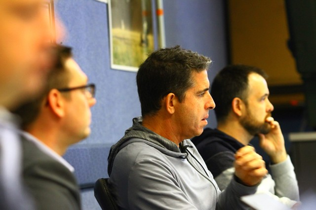 Delegates at the Artillery Systems Cooperation Activities Interoperability Program meeting listen to a presenter Nov. 20, 2019 at  Snow Hall. Delegates came from 18 countries.