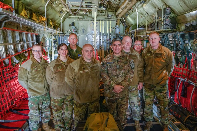 Members of the 167th Aeromedical Evacuation Squadron pose for a photo with Maj. Gen. Mario E. Risco, Defense and Military Attaché to the Embassy of Peru in Washington, D.C., during a State Partnership Program (SPP) visit to the 130th Airlift Wing in Charleston, W.Va. Risco toured WVNG facilities and spent time meeting senior leaders while participating in detailed discussions on topics such as Emergency Operations Center functions and protocols, aviation medicine and aeromedical evacuations, Non-Commissioned Officer Professional Development (NCOPD), and the WVNG's Army Interagency Training and Education Center (AITEC).