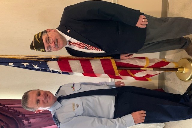 Security assistance liaison officer and Squadron Leader Glenn Hardwick with the Royal Australian Air Force Glenn Hardwick spoke at VFW Post 7415, emphasizing the sacrifices of military members throughout the world.