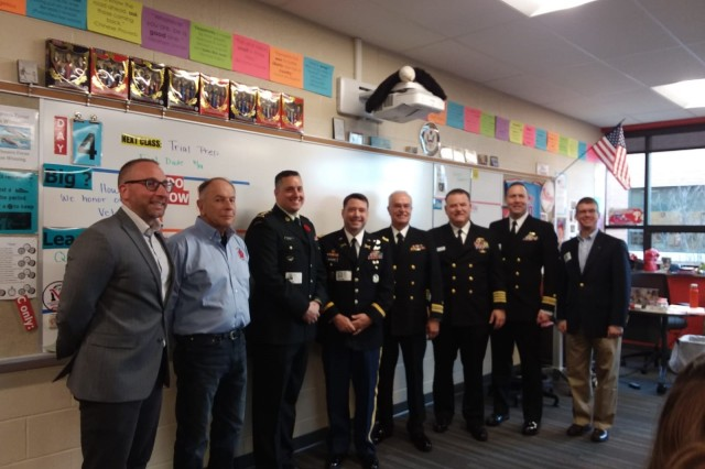 Security assistance liaison office Capt. (P) Simon Bowser with the Canadian Army spent the holiday with U.S. military officers who were invited to speak to students of History teacher Jake Miller at Mountainview Middle School.