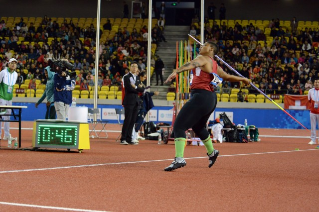 U.S. Army Spc. Avione Allgood throws the javelin for 4th place in the CISM Military World Games track and field competition Oct. 25, 2019, in Wuhan, China.
