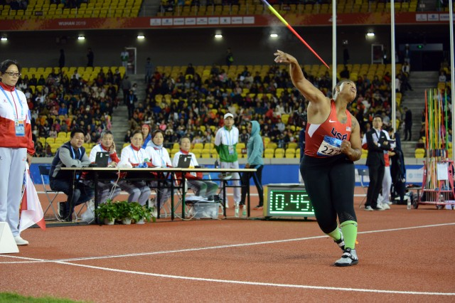 U.S. Army Spc. Avione Allgood throws the javelin for 4th place in the CISM Military World Games track and field competition Oct. 25, 2019, as judges observe in Wuhan, China.