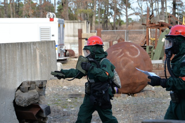 New York Army National Guard search and extraction team members assigned to Bravo Company, 152nd Brigade Engineer Battalion, conduct a radiological scan of an incident site during Homeland Response Force training at Lakehurst Naval Air Station at Joint Base McGuire Dix Lakehurst in Lakehurst, N.J. November 15, 2019. The engineers serve as part of the Homeland Response Force for FEMA Region 2 and conducted response training for chemical, biological, radiological or nuclear (CBRN) incidents. More than 600 Soldiers and Airmen of the New York and New Jersey National Guard participated in the training to prepare for the task force capabilities to conduct casualty evacuation, decontamination and medical triage under CBRN conditions.
