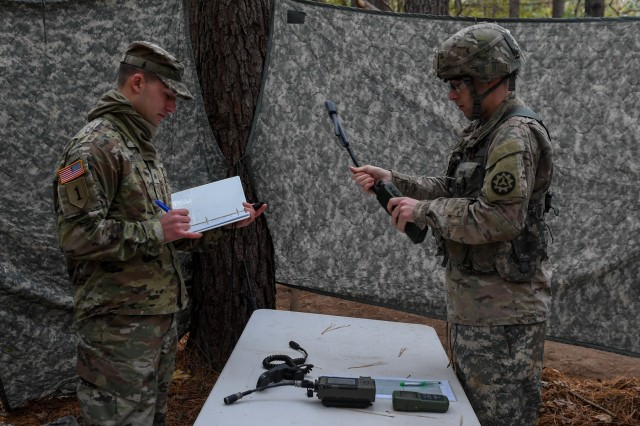 U.S. Army Capt. David Morin, a network officer with the 93rd Signal Brigade, begins the task to transmit a spot report during the Expert Soldier Badge course at Joint Base Langley-Eustis, Va., Nov. 18, 2019. The ESB allows a Soldier to demonstrate a high level of competence and ability to perform to-standard Skill Level I Warrior Tasks and brigade commander-selected tasks.