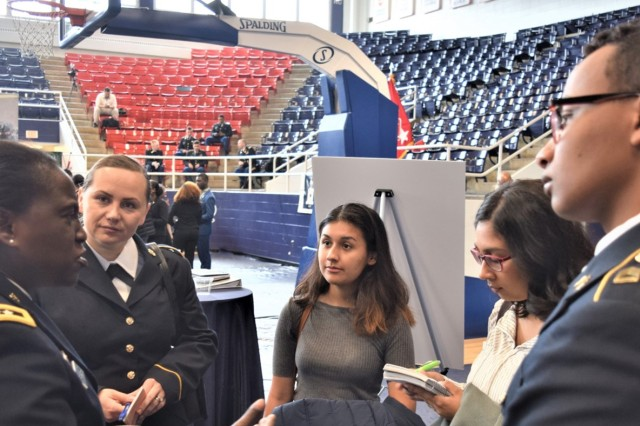 Maj. Gen. Telita Crosland (left), Deputy Army Surgeon General and Deputy Commanding General (Operations), and Chief, Army Medical Corps, meets with future Army leaders.  The US Army Cadet Command hosted the 2019 Army Senior Leader Development Conference at Howard University, Washington, DC, on Nov. 7, 2019, to help cultivate tomorrow's Army leaders.  This was the sixth consecutive year the SLDC was held at Howard, which has a long history of helping to develop military leaders.