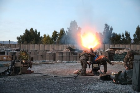 Soldiers from the 48th Infantry Brigade Combat Team fire their mortar system in support of operations in Laghman Province, Afghanistan March 5th, 2019. Alpha Troop, 1-108th Cavalry Regiment of 48th Infantry Brigade Combat Team, is deployed to Afghani...
