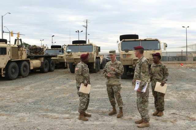 U.S. Army Forces Command, G-4, Major General Kurt J. Ryan, toured the 82nd ADSB Mobile Retrograde Warehouse Yard, Nov. 22, on Fort Bragg.