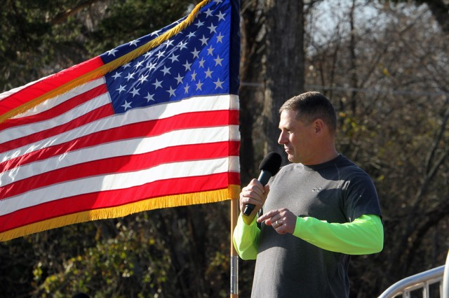 Maj. Gen. Wilson A. Shoffner, Fires Center of Excellence and Fort Sill commanding general, tells the runners that they are setting an example for the Army in remembrance, and taking care of veterans and Gold Star families, Nov. 23, 2019.