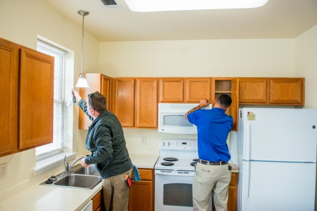 FORT BENNING, Ga. -- At Fort Benning Nov. 21, housing inspectors carry out a quality assurance inspection of a home in the Patton Village housing area with the aim of having it ready for occupancy by a military family. Fort Benning during the past year has made housing inspections much more stringent as part of a broad effort to improve on-post housing services. Most recently, as part of that ongoing effort, officials here have put in place a network of phone numbers and housing advocates residents can contact to report maintenance needs and ensure those needs are properly handled. Those steps, combined with use of an online work order system and a 24-hour housing hotline, among other avenues, are expected to markedly improve customer satisfaction with maintenance service, officials said.