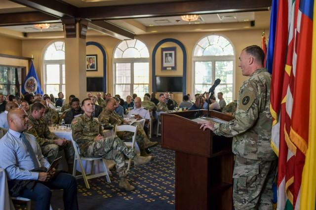 """Chaplain (Col.) Jay S. Johns, JFHQ-NCR/MDW Command Chaplain, speaks during the Spiritual Fitness Luncheon hosted by Joint Force Headquarters - National Capital Region and the U.S. Army Military District of Washington at Fort Lesley J. McNair, Washington, D.C., November 21, 2019. The event, sponsored by the MDW Religious Support Directorate, featured the theme, """"Thankfulness: Mood or Decision?"""""""